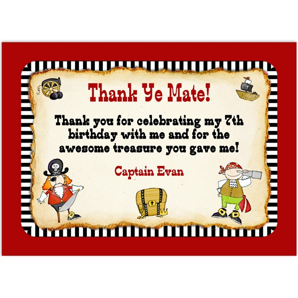 Pirate Thank You Cards Birthday