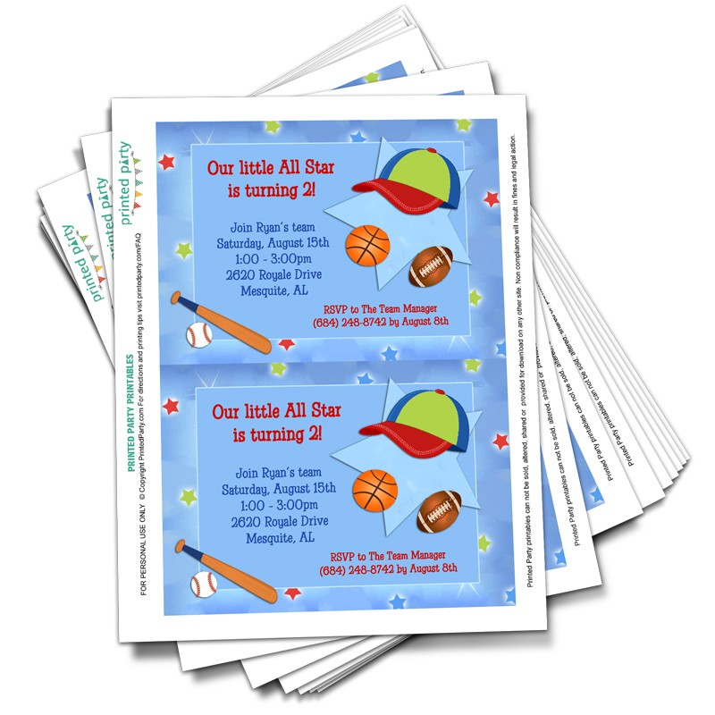 printable sports invitations template printed party