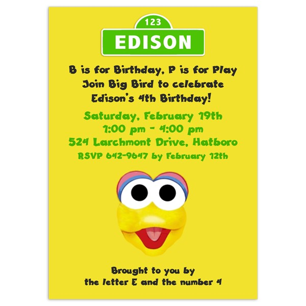 Big Bird Invitations Birthday Invitation Printed Party