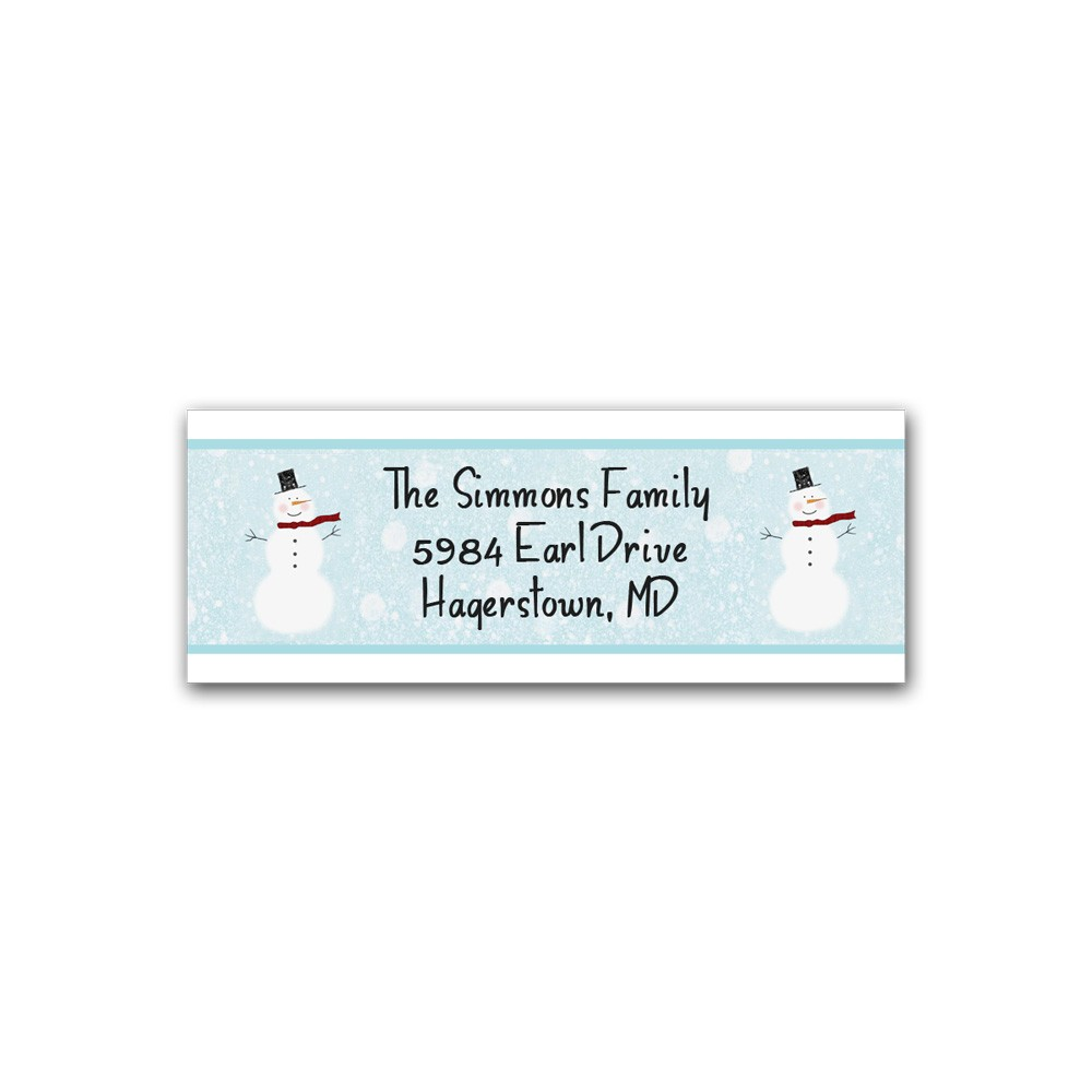 holiday address label snowman printed party