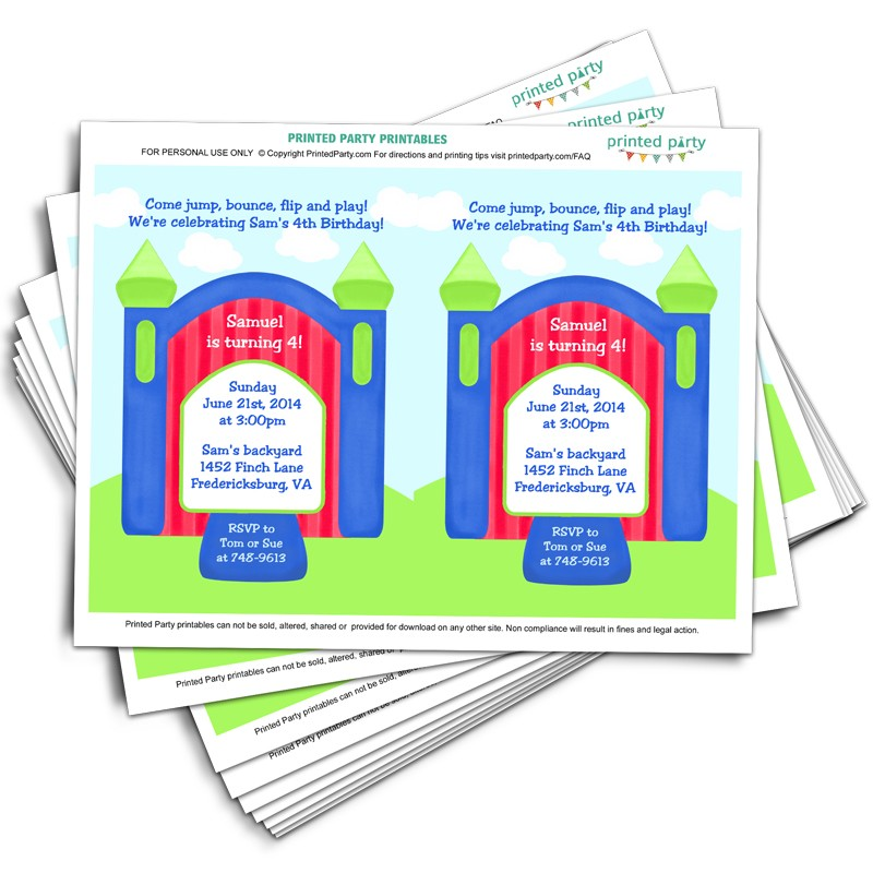 Printable Bounce House Party Invitation Template