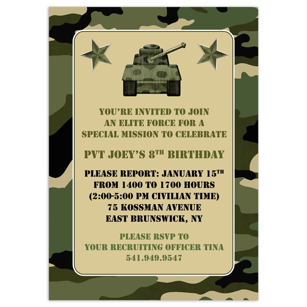 photo about Camo Printable identified as Printable Camo Birthday Invites - Invitation Template