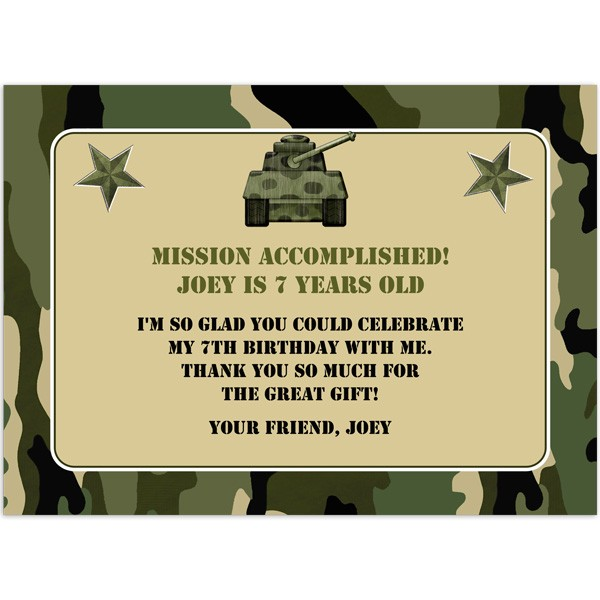 graphic relating to Camo Printable identify Camo Thank Oneself - Birthday Thank Yourself - Revealed Celebration