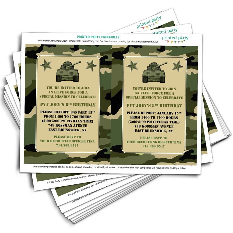printable camo birthday invitations invitation template printed