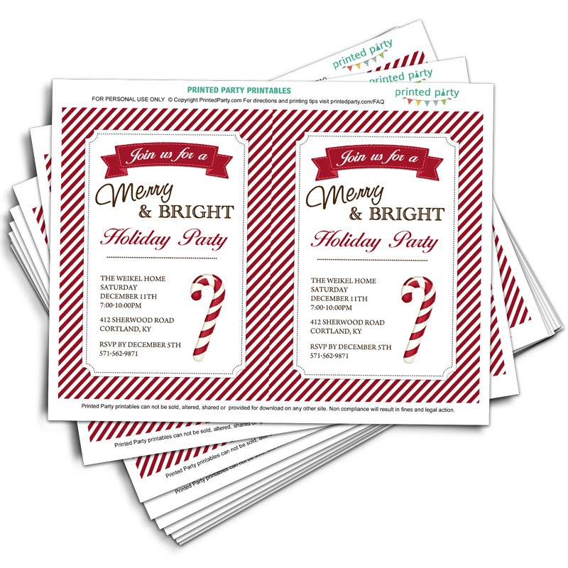 picture about Candy Cane Template Printable titled Printable Xmas Bash Invitation Template Sweet Cane Structure