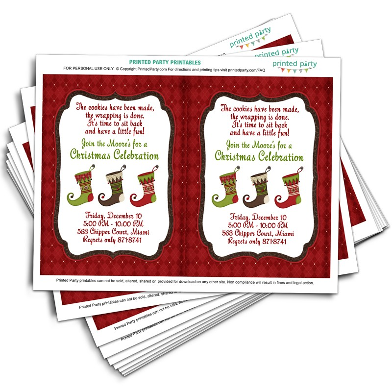 photo regarding Printable Holiday Invitation named Printable Xmas Social gathering Invitation Template Xmas Stocking Style