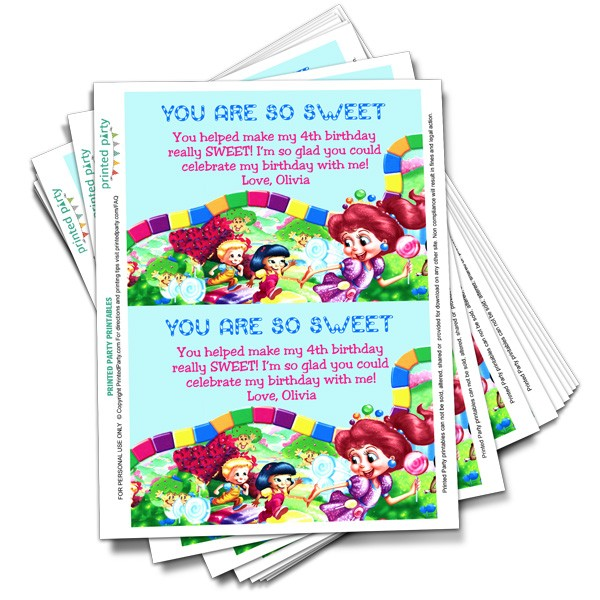photograph relating to Printable Candyland Cards titled Printable Candyland Thank Your self Card Template