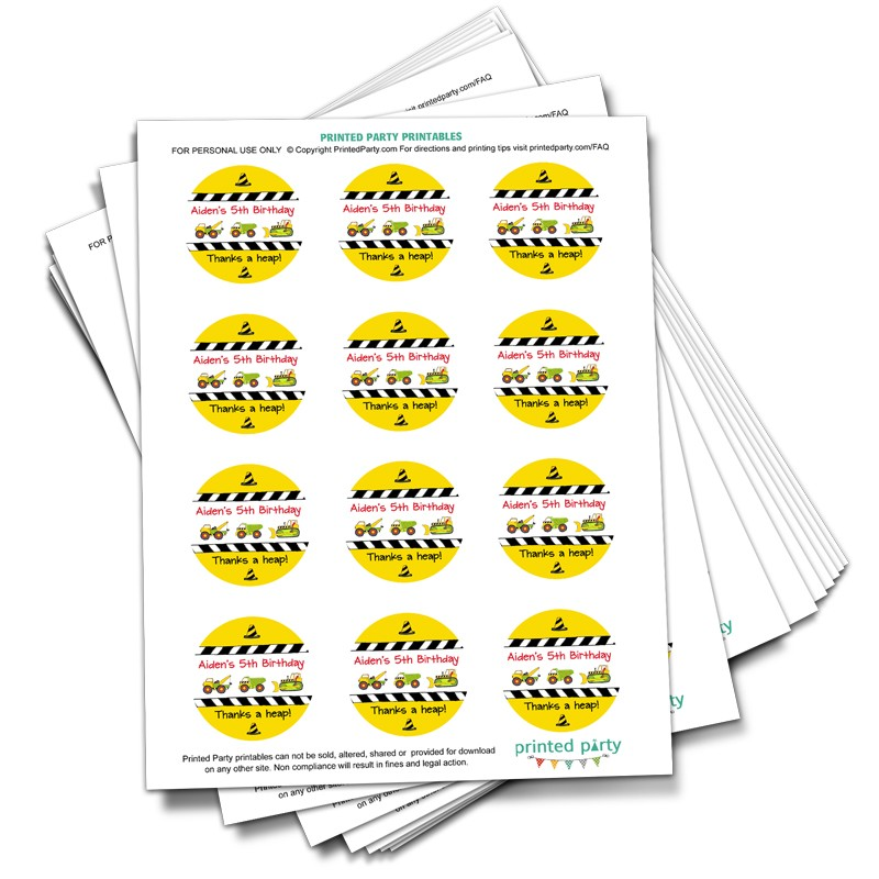 printable construction favor tag party favor printed party
