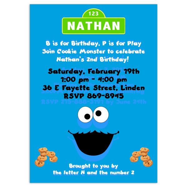 Cookie Monster Invitations Birthday Invitation Printed Party