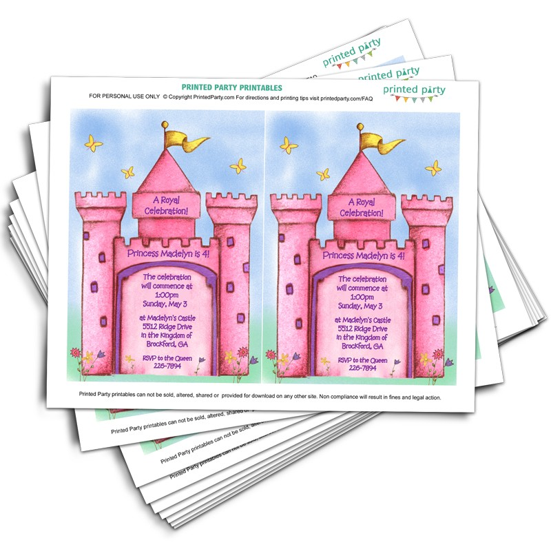 Printable Princess Castle Invitation