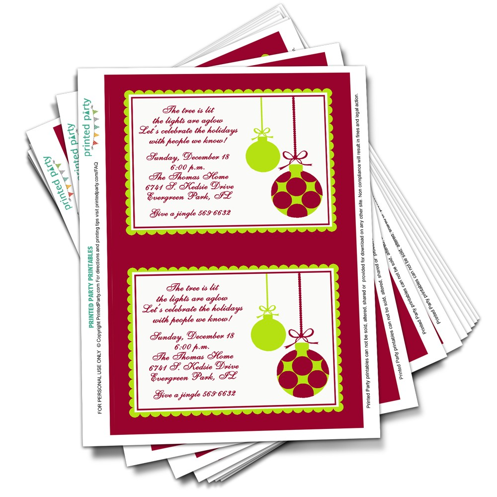Printable Christmas Party Invitation Template Christmas Ornaments
