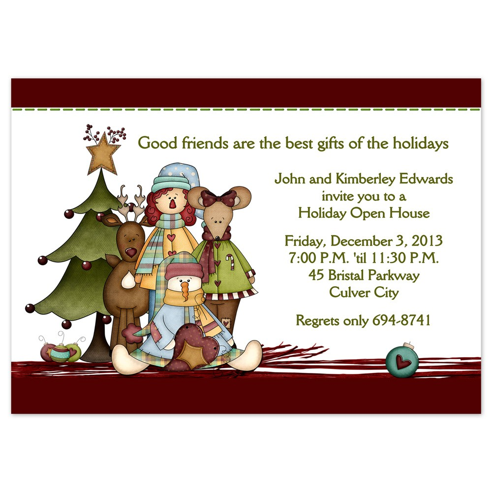 Christmas Party Invitations Country Christmas Design Printed With