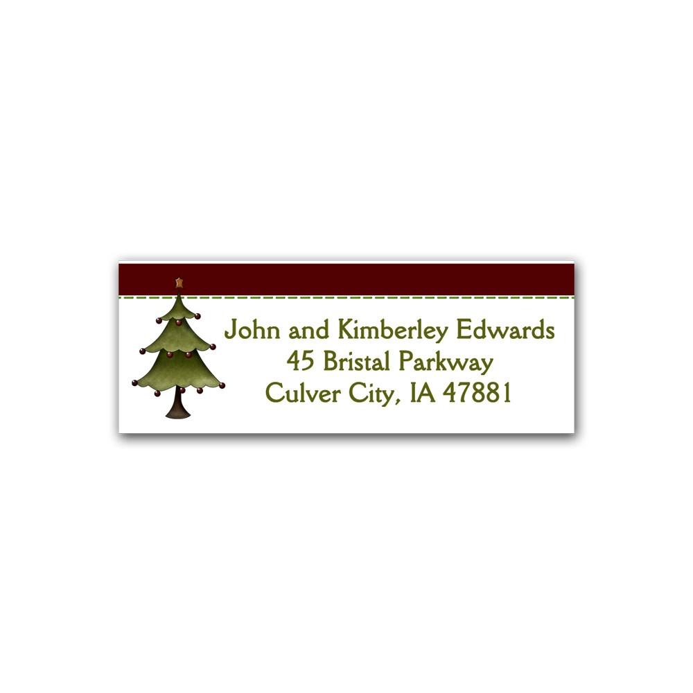 holiday address label country christmas tree printed party