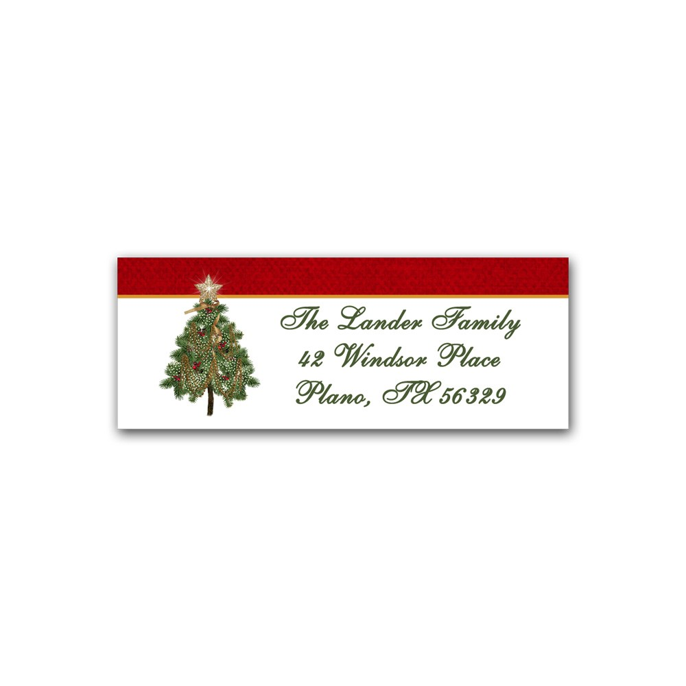 holiday address label christmas tree printed party
