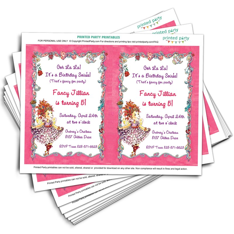 printable fancy nancy invitations template printed party. Black Bedroom Furniture Sets. Home Design Ideas