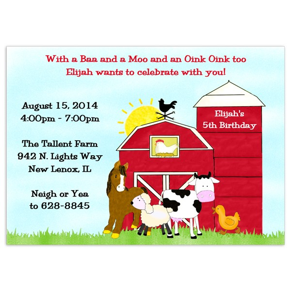 Farm Birthday Invitations Party Invitation Printed Party