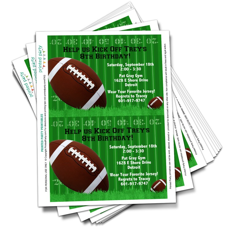 Printable Football Birthday Invitation Template