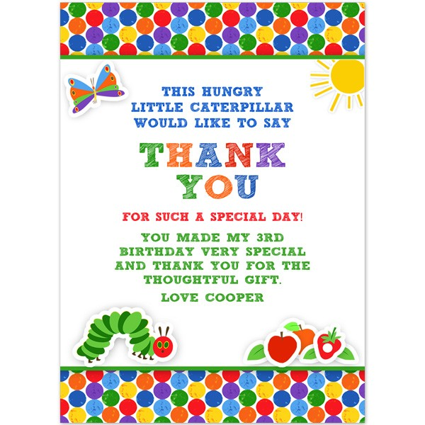 Very Hungry Caterpillar Thank You Birthday Printed Party