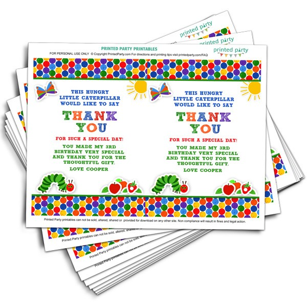 Very Hungry Caterpillar Thank You Birthday Thank You Printed Party