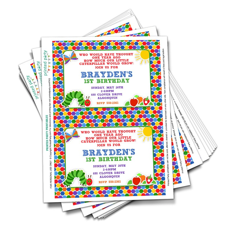 Printable Hungry Caterpillar Invitation Party Invitation Printed