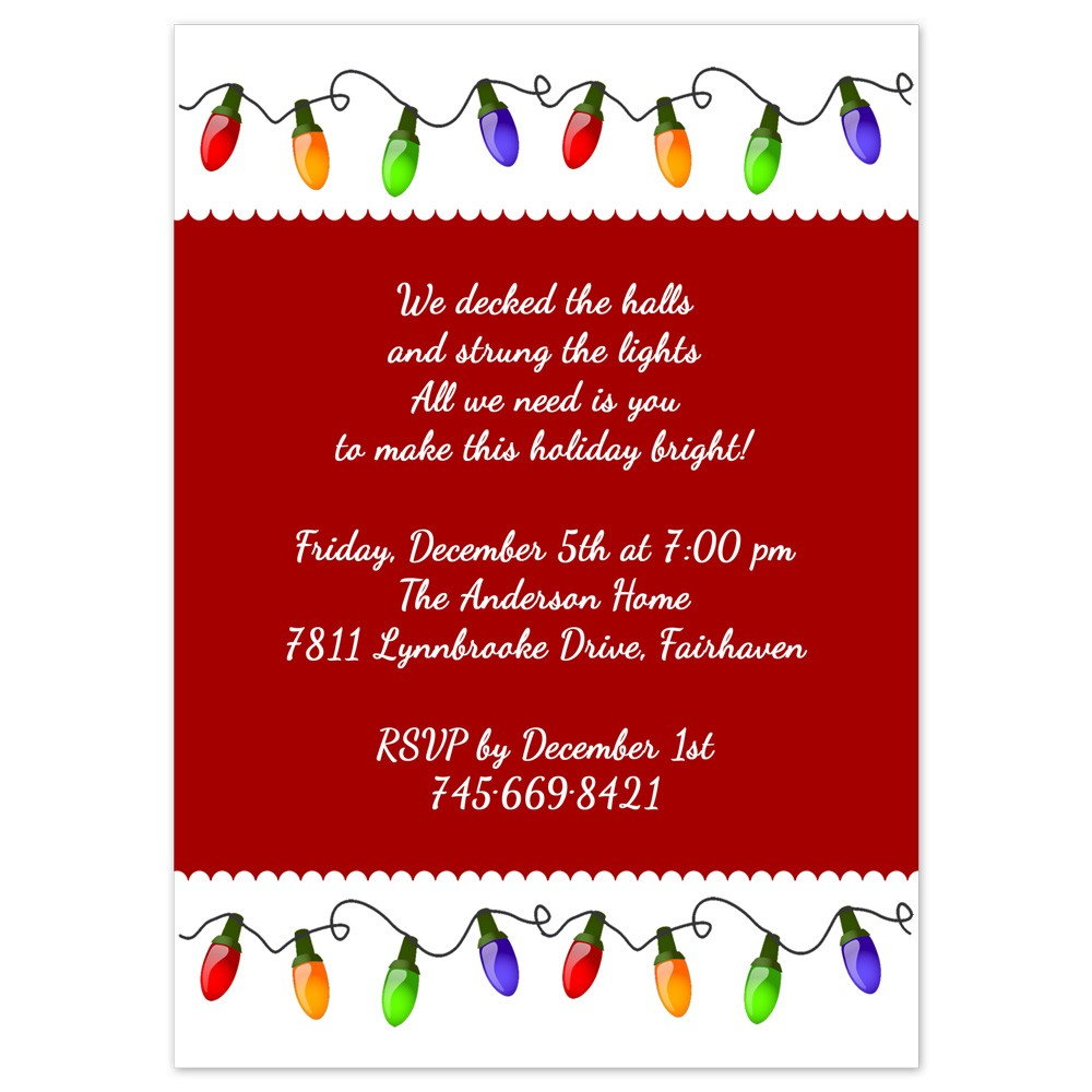Christmas Party Invitations | Christmas Lights Design | Printed with ...