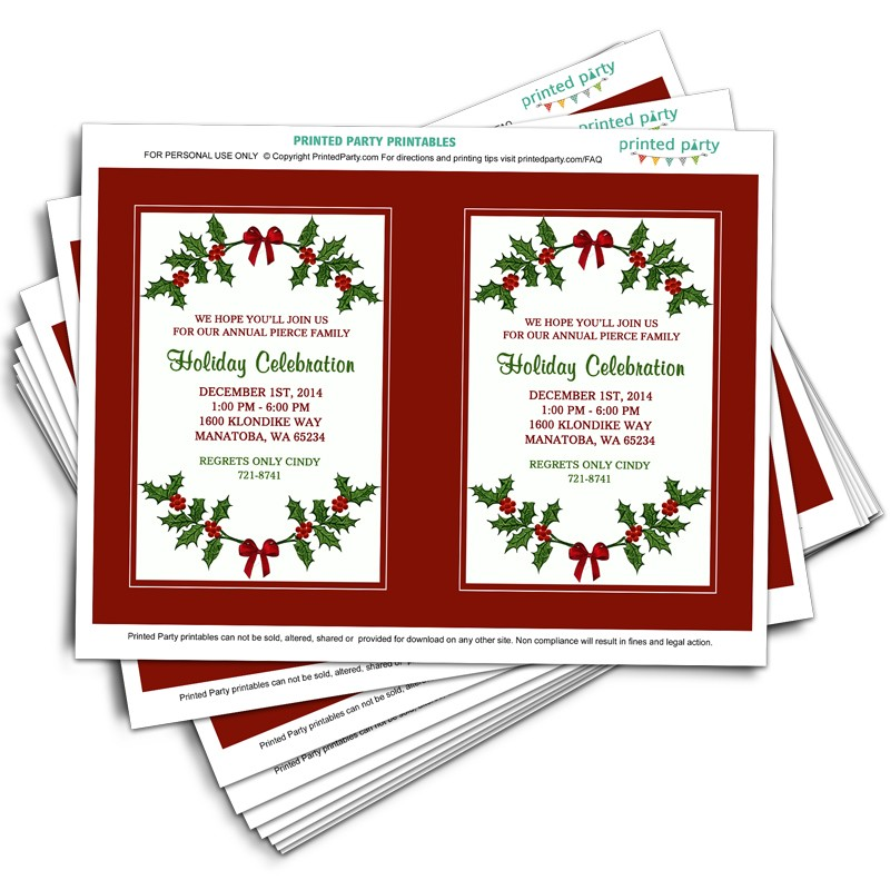 Printable Christmas Party Invitation Template | Holly Border Design