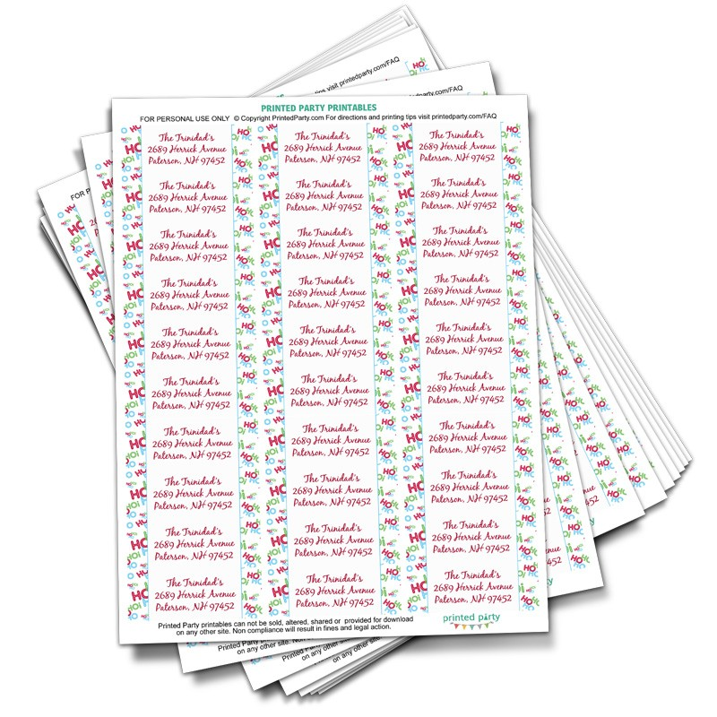 printable christmas address label template santa inspired