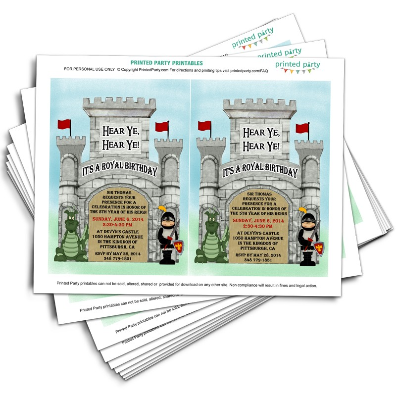 Printable Knight Birthday Invitations - Template - Printed Party