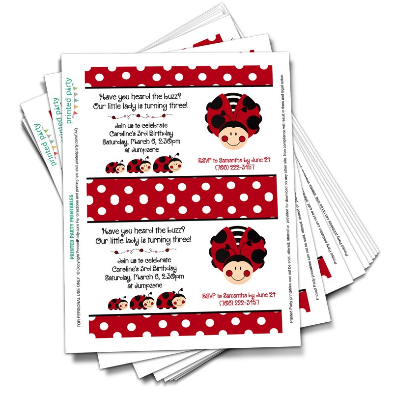 picture regarding Printable Ladybug identified as Printable Ladybug Birthday Invitation Template