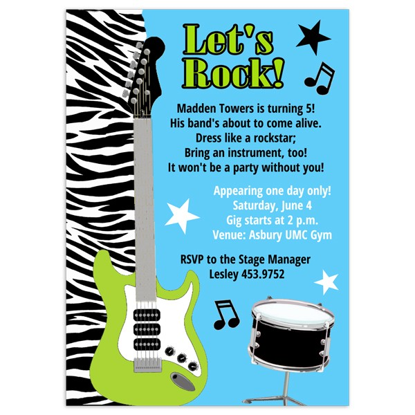 Rock Star Invitations Birthday Party Invitation Printed Party