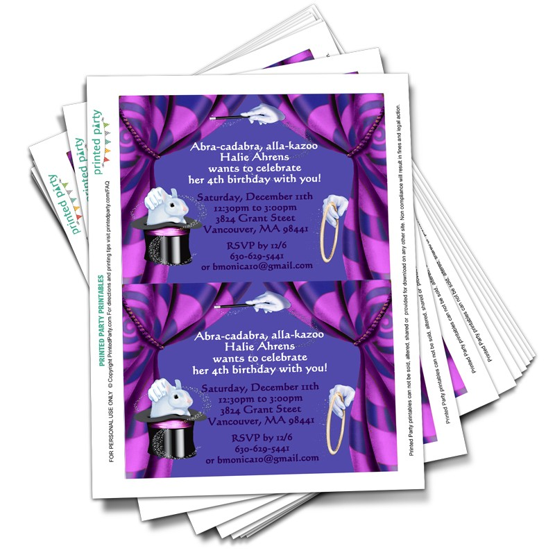 printable magic party invitations template printed party