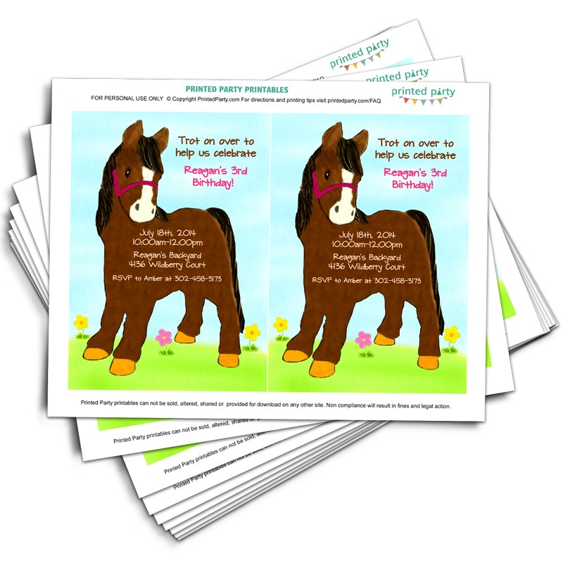 Printable Horse Party Invitations - Template - Printed Party