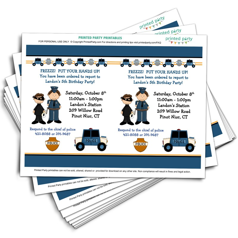 Printable Police Party Invitation Template Invitations