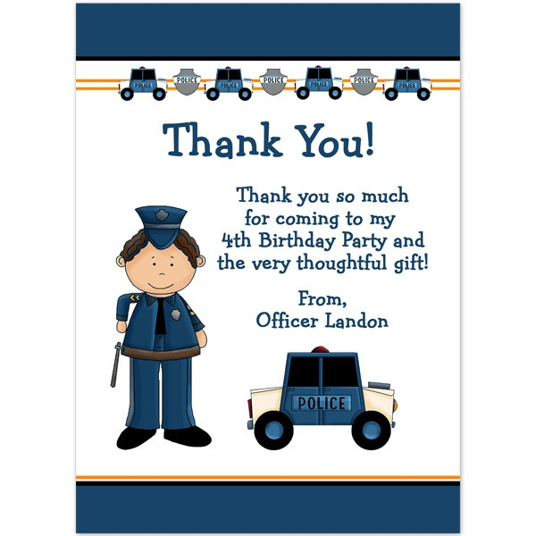 Police Thank You Birthday Thank You Printed Party
