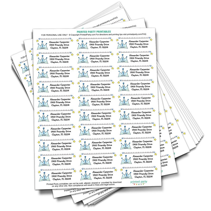 prince address label party favor printed party