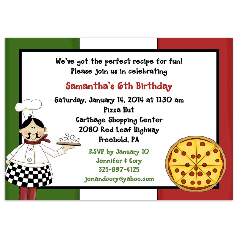 Pizza Party Invitations Birthday