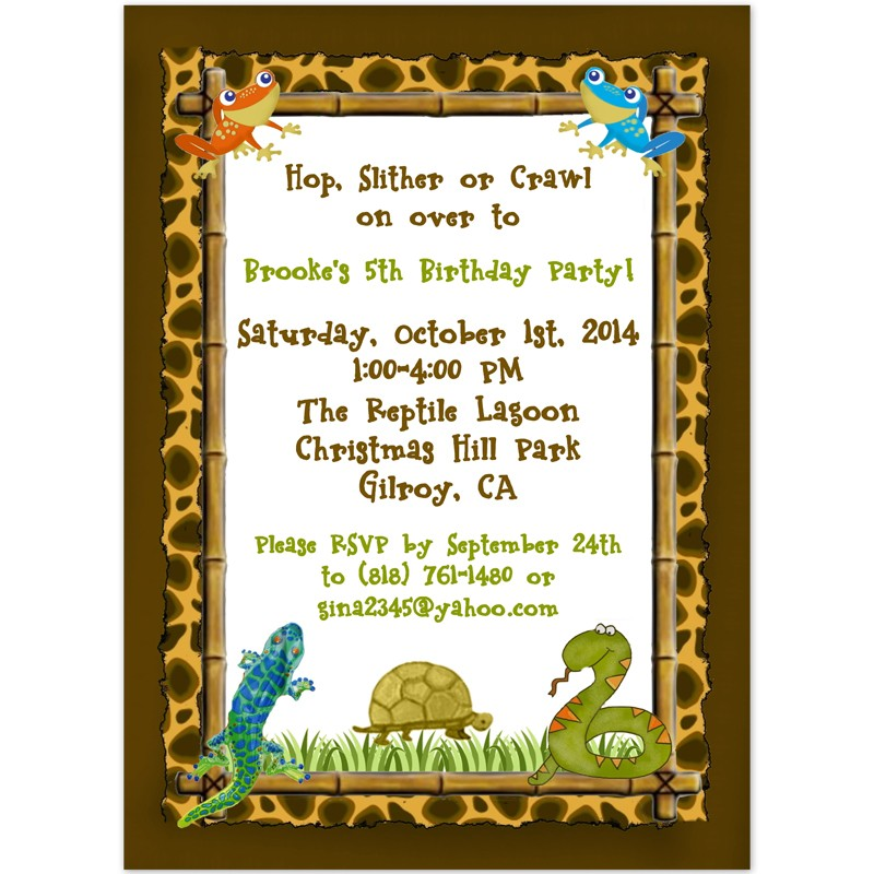 Reptile Party Invitations Birthday Party Invitation Printed Party