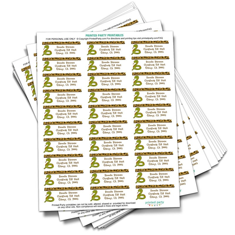 Reptile Address Label - Party Favor- Printed Party