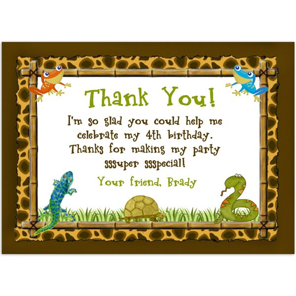 Reptile Lizard Snake Thank You Birthday Thank you Printed Party