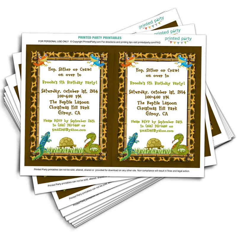 Printable reptile party invitation template | digital reptile.
