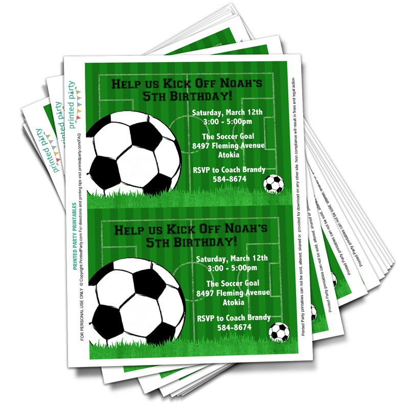 Printable Soccer Party Invitations Template Printed Party