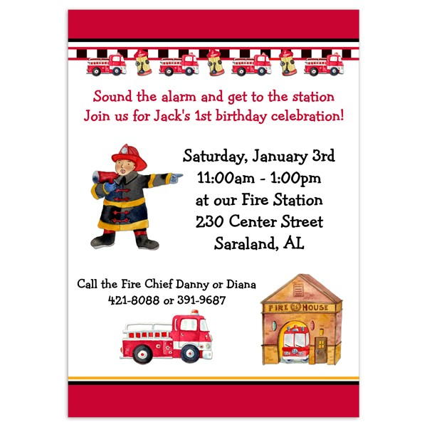 Fireman Birthday Invitations Birthday Party Invitation Printed Party