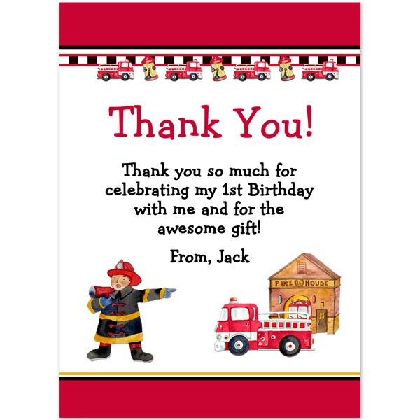 Fireman Thank You Birthday Thank You Printed Party