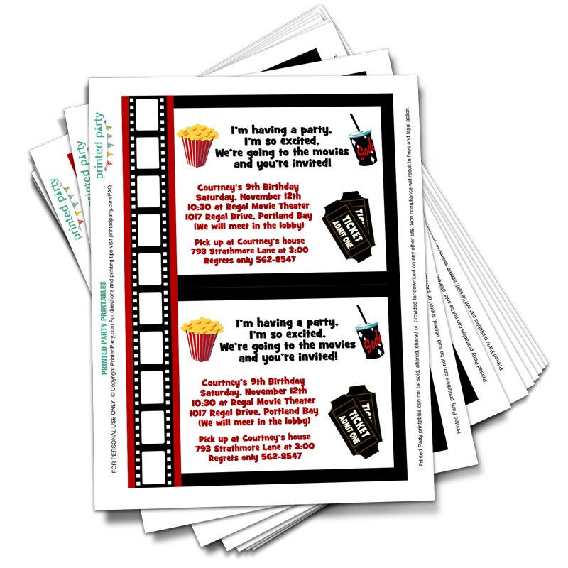 Printable Movie Party Invitations Template Printed Party