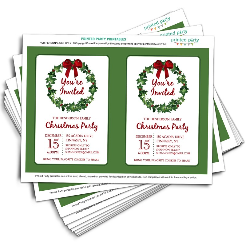 Printable Christmas Party Invitation Template | Christmas Wreath Design
