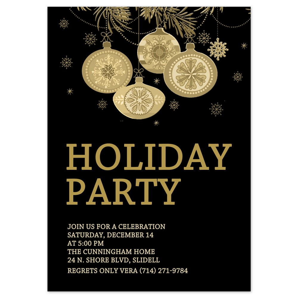 christmas party invitations gold ornaments design printed with