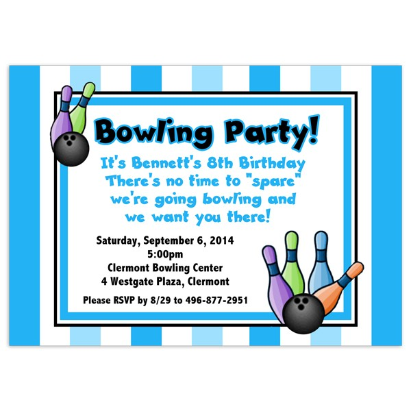 Bowling Party Invitations Birthday Invitation Printed