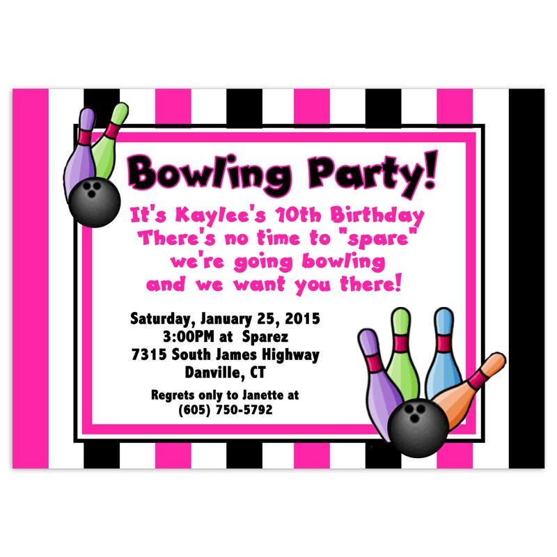 bowling party invitations birthday invitation printed party