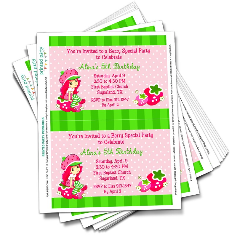 Printable Strawberry Shortcake Party Invitations - Template ...