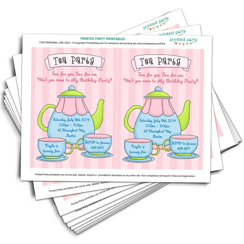 Printable Tea Party Invitations - Template - Printed Party